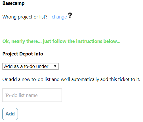 Screenshot of EvantoDesk Basecamp Integration