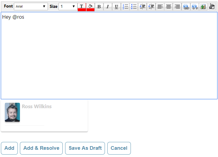 Screenshot of EvantoDesk Adding Note functionality